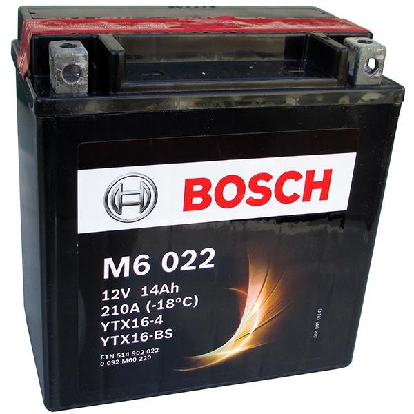 Аккумулятор для мотоциклов Bosch YTX16-BS / YTX16-4 14Ah