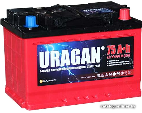 Аккумулятор автомобильный URAGAN 75 R+
