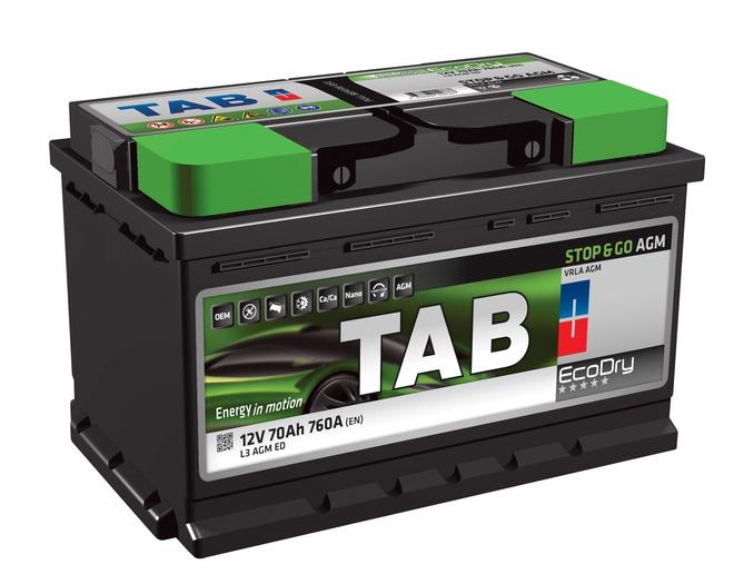 Аккумулятор автомобильный Tab EcoDry Stop&Go AGM 70 R