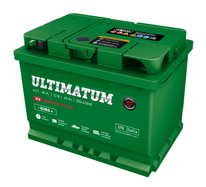 Аккумулятор автомобильный АКОМ ULTIMATUM EFB Евро 60 А/ч