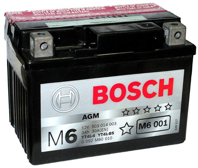 Аккумулятор для мотоциклов Bosch YT4L-BS / YT4L-4 3Ah