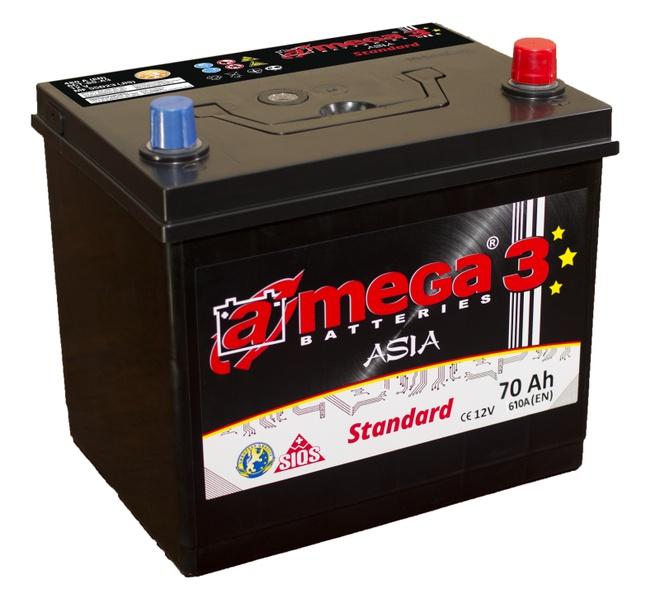 Аккумулятор автомобильный A-mega Standard Asia 70 JR