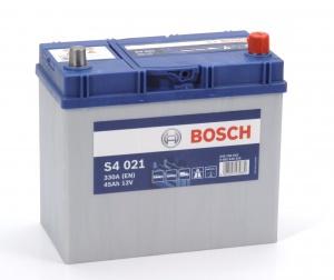 Аккумулятор автомобильный Bosch S4 Asia Silver 45 JR тонк.клеммы