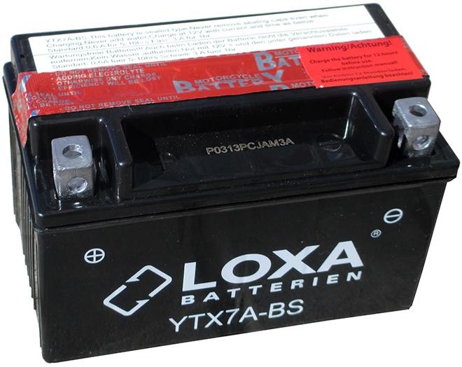 Аккумулятор для мотоциклов LOXA YTX 7A-BS 6Ah