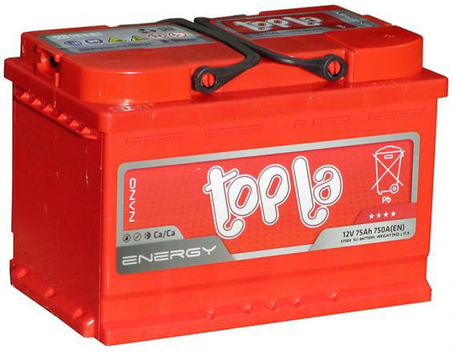 Аккумулятор автомобильный 75 TOPLA Energy L+