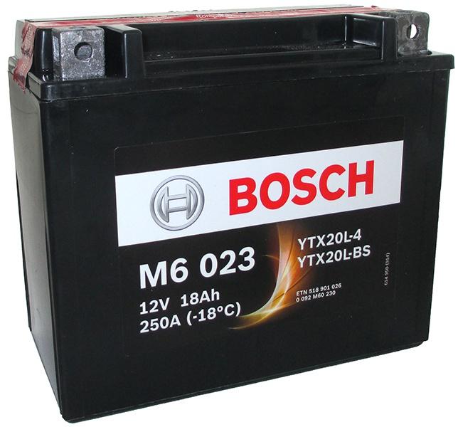 Аккумулятор для мотоциклов Bosch YTX20L-BS / YTX20L-4 18Ah