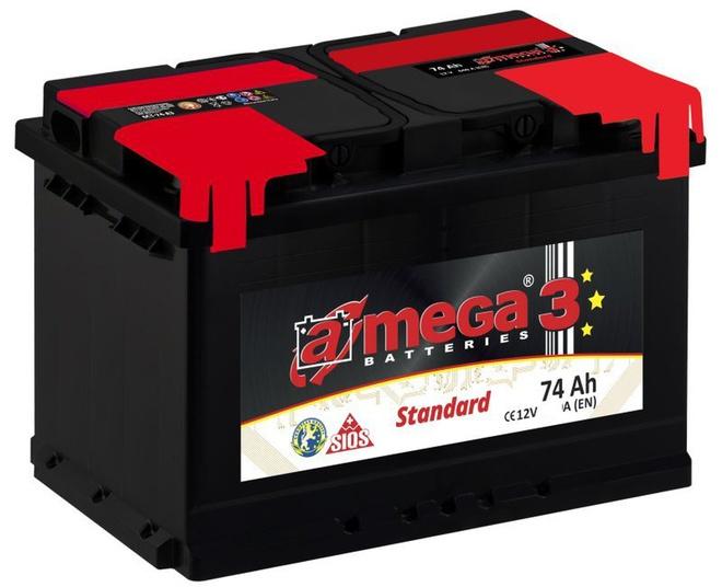 Аккумулятор автомобильный A-mega Standard 74 L