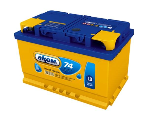 Аккумулятор автомобильный АКОМ 6СТ-74 Евро низкий