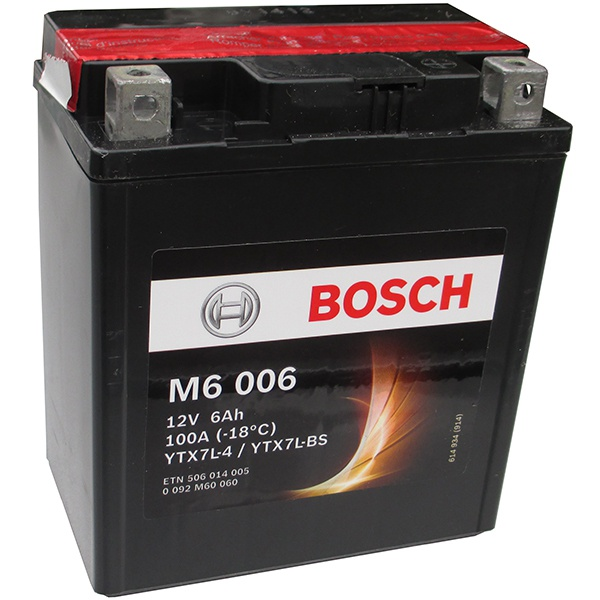 Аккумулятор для мотоциклов Bosch YTX7L-BS / YTX7L-4 6Ah