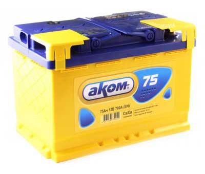 Аккумулятор автомобильный АКОМ 6СТ-75 Евро+EFB
