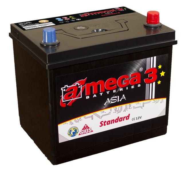 Аккумулятор автомобильный A-mega Standard Asia 45 JR тонкие клемы