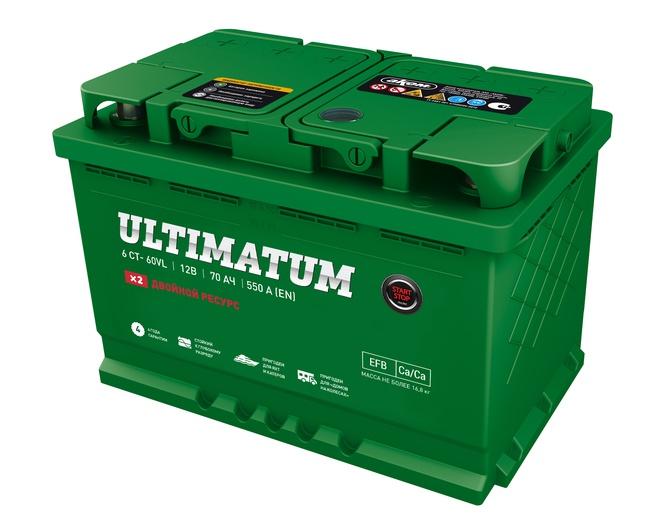 Аккумулятор автомобильный АКОМ ULTIMATUM EFB Евро 70 А/ч