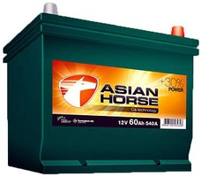 Аккумулятор автомобильный Asian Horse 60 JR борт.